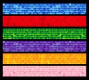 El conjunto de seises embaldosó banderas coloridas Stock de ilustración