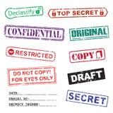 El conjunto de tinta estampa para documentos secretos Imagen de archivo libre de regalías