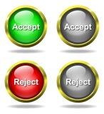 El conjunto de vidrio valida - los botones del rechazo Imagen de archivo libre de regalías