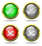 El conjunto de vidrio valida - los botones del rechazo Fotografía de archivo