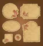 El conjunto de vintage floral retro enmarca y las escrituras de la etiqueta Fotos de archivo