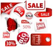 El conjunto del descuento rojo marca, las escrituras de la etiqueta, sellos Foto de archivo