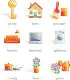 El conjunto del icono, hogar relacionó items Fotografía de archivo