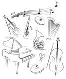 El conjunto del vector del instrumento musical Imagen de archivo libre de regalías