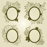 El conjunto del vector del otoño hojea los marcos Imágenes de archivo libres de regalías
