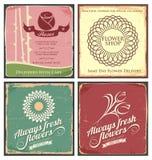 El conjunto del vintage de estaño del metal firma para la floristería Fotografía de archivo libre de regalías