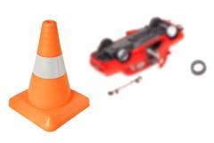 El cono de la emergencia y da vuelta al coche Imagen de archivo libre de regalías