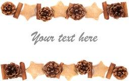 El cono del pino, canela, colección de la Navidad de las galletas fijó en b blanco Imágenes de archivo libres de regalías