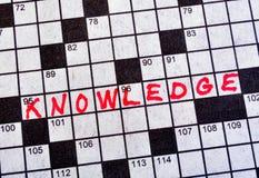El conocimiento de la palabra en crucigrama Imagenes de archivo