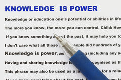 El conocimiento es extracto del poder Imagen de archivo libre de regalías