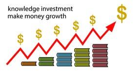 El conocimiento hace el dinero stock de ilustración