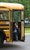 El conseguir que agita del muchacho en el omnibus Fotografía de archivo libre de regalías