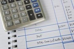 El considerar añade el concepto de sobra del cálculo de la calculadora del número Fotografía de archivo