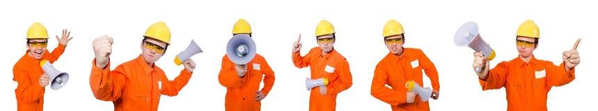 El constructor con el altavoz aislado en blanco Fotografía de archivo libre de regalías