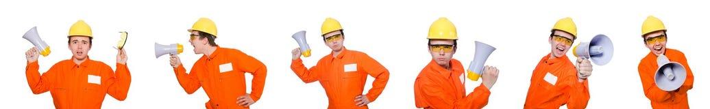 El constructor con el altavoz aislado en blanco Fotografía de archivo