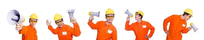 El constructor con el altavoz aislado en blanco Foto de archivo libre de regalías