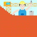El constructor construye una pared de ladrillo Fotografía de archivo libre de regalías