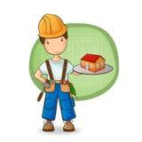 El constructor que sostiene la pequeña casa Imagen de archivo