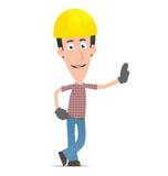 El constructor se coloca al lado de un lugar en blanco Imágenes de archivo libres de regalías
