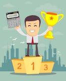 El contable está mostrando una taza de la calculadora y del ganador stock de ilustración