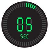 El contador de tiempo digital 5 segundos cronómetro electrónico con un dial de la pendiente que enciende el icono del vector, el  stock de ilustración