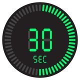 El contador de tiempo digital 30 segundos cronómetro electrónico con un dial de la pendiente que enciende el icono del vector, el stock de ilustración