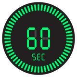 El contador de tiempo digital 60 segundos, 1 cronómetro minucioso, electrónico con un dial de la pendiente que comienza el icono  ilustración del vector