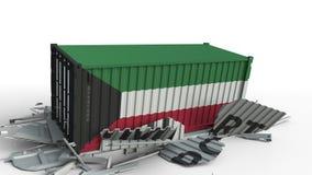 El contenedor para mercancías con la bandera de Kuwait rompe el envase con el texto de la IMPORTACIÓN Animación conceptual 3D metrajes