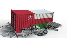 El contenedor para mercancías con la bandera de Omán rompe el envase con el texto de la EXPORTACIÓN Animación conceptual 3D almacen de metraje de vídeo