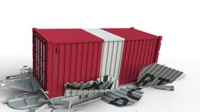 El contenedor para mercancías con la bandera de Perú rompe el envase con el texto de la EXPORTACIÓN Animación conceptual 3D almacen de video