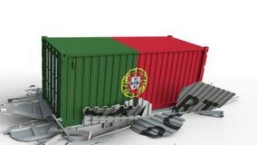 El contenedor para mercancías con la bandera de Portugal rompe el envase con el texto de la EXPORTACIÓN Animación conceptual 3D almacen de metraje de vídeo