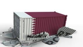 El contenedor para mercancías con la bandera de Qatar rompe el envase con el texto de la EXPORTACIÓN Animación conceptual 3D almacen de video