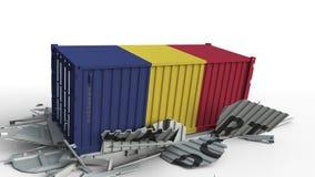 El contenedor para mercancías con la bandera de Rumania rompe el envase con el texto de la EXPORTACIÓN Animación conceptual 3D almacen de video