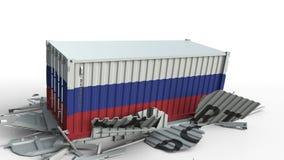 El contenedor para mercancías con la bandera de Rusia rompe el envase con el texto de la EXPORTACIÓN Animación conceptual 3D almacen de video