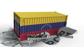El contenedor para mercancías con la bandera de Venezuela rompe el envase con el texto de la EXPORTACIÓN Animación conceptual 3D almacen de metraje de vídeo