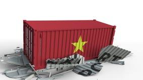 El contenedor para mercancías con la bandera de Vietnam rompe el envase con el texto de la EXPORTACIÓN Animación conceptual 3D metrajes