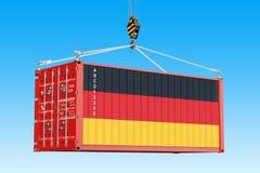 El contenedor para mercancías con la ejecución alemana de la bandera en la grúa engancha otra vez libre illustration