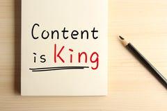 El contenido es rey foto de archivo