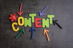 El contenido es rey en la comunicación y el concepto i de la marca de la publicidad imagen de archivo libre de regalías