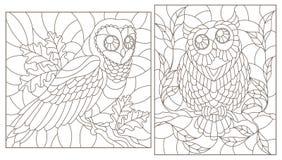 El contorno fijó con los ejemplos con los búhos, contornos oscuros en el fondo blanco libre illustration