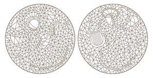 El contorno fijó con los ejemplos de los vitrales con los ángeles, imagen redonda ilustración del vector