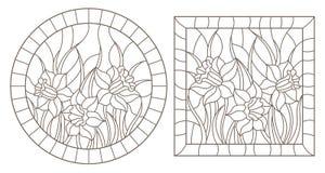 El contorno fijó con los ejemplos de vitrales con los narcisos en los marcos, contornos oscuros en un fondo blanco, alrededor y stock de ilustración