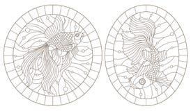 El contorno fijó con los ejemplos de vitrales con los peces de colores, la imagen redonda en el marco, contornos oscuros en los v libre illustration