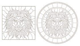 El contorno fijó con los ejemplos del vitral con una cabeza del ` s del león, alrededor y la imagen cuadrada, contornos oscuros e Imagenes de archivo