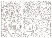 El contorno fijó con los ejemplos en estilo del vitral con las iglesias cristianas en fondo del paisaje, contornos oscuros en bla libre illustration