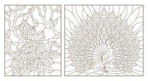 El contorno fijó con los vitrales de los ejemplos con los pavos reales, esquemas oscuros en el fondo blanco stock de ilustración
