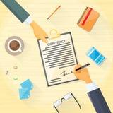 El contrato firma para arriba a hombres de negocios del documento de papel stock de ilustración