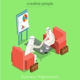 El contrato islámico árabe del negocio negocia vector Fotografía de archivo libre de regalías
