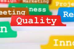 El control de calidad y la gestión se registran en el servicio del concepto del negocio Imagenes de archivo