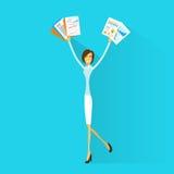 El control emocionado de la mujer de negocios da encima de los brazos aumentados Imagen de archivo libre de regalías